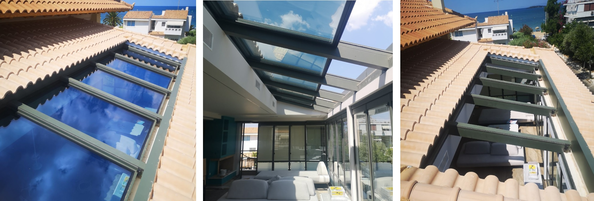 Glass Sliding Roof in combination with tiled roof